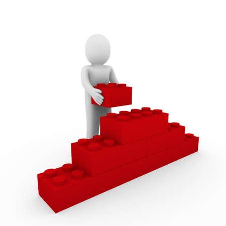 entreprise puzzle: 3D Pierre rouge humaine cubes mur puzzle business
