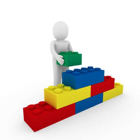 3d menselijk kubus steen blauw rood groen bedrijf