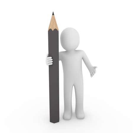 3d human pencil pen write gray business draw photo