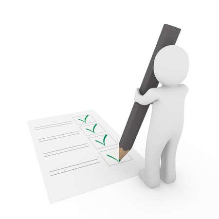 3d human check box paper pen pencil green photo