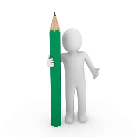 3d human pencil pen write green business draw photo
