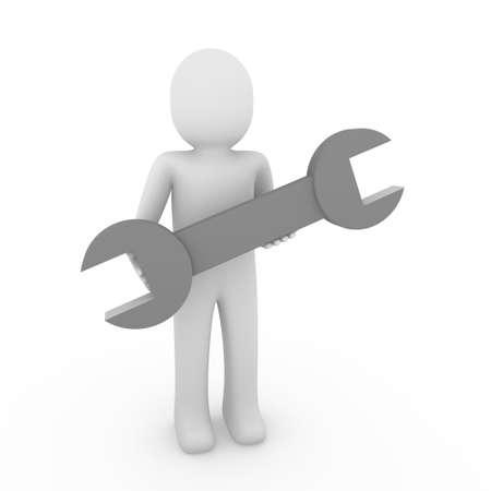 3d human man wrench tool repair gray mechanic Stock Photo - 8919281