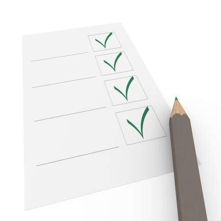 3d pencil pen check box green paper business photo