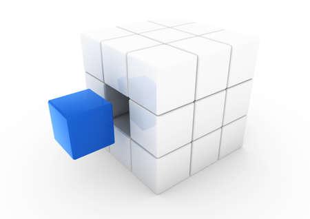 specular: fondo blanco de 3D negocios cubo azul aislado Foto de archivo