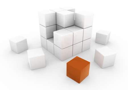 specular: 3d business cube orange isolated white background
