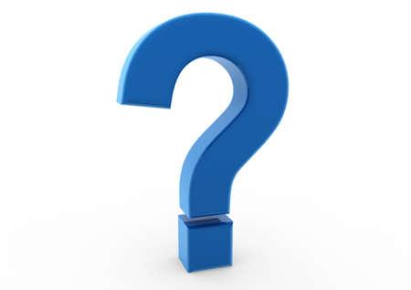 punto interrogativo: 3D interrogativo blu isolato su sfondo bianco