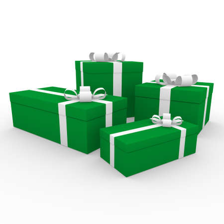 new yea: 3d green white gift box isolated on white background Stock Photo