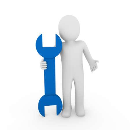 3d human man wrench tool repair blue mechanic Stock Photo - 8919326