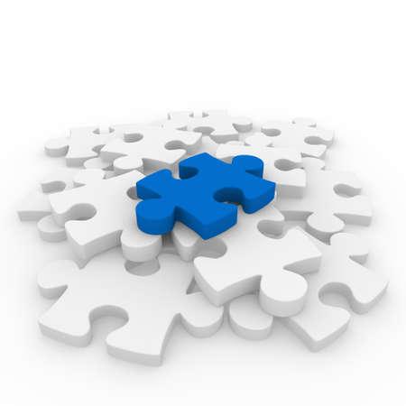 piezas de rompecabezas: conexi�n de �xito blanco azul rompecabezas 3D pieza de negocio Foto de archivo