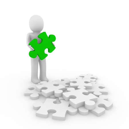 animated women: 3d human puzzle green business white success Stock Photo