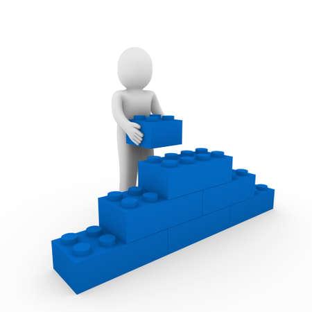 3d human: 3D piedra azul humano cubo negocios de rompecabezas de pared