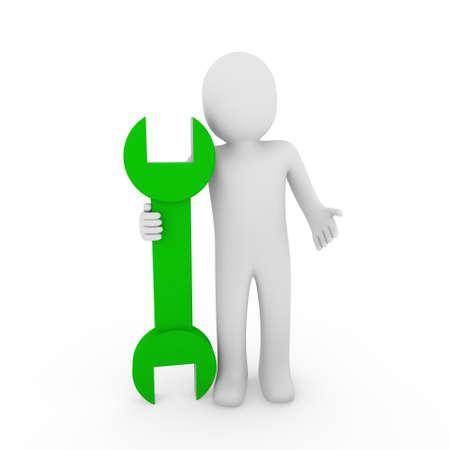 3d human man wrench tool repair green mechanic Stock Photo - 8996014