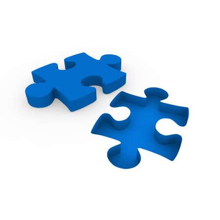 3d puzzle blue white success connection piece business photo
