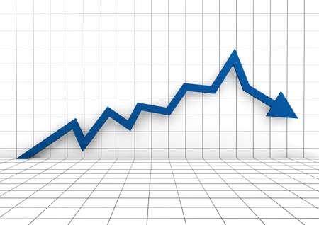 3D-grafiek pijl blauwe neer geïsoleerd op witte achtergrond Stockfoto