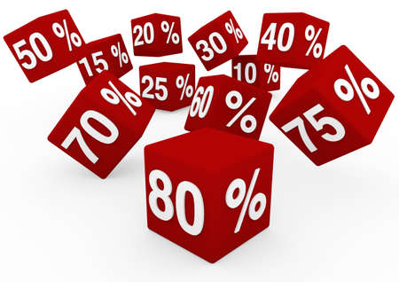 white interest rate: 3d red white sale cube isolated on white background