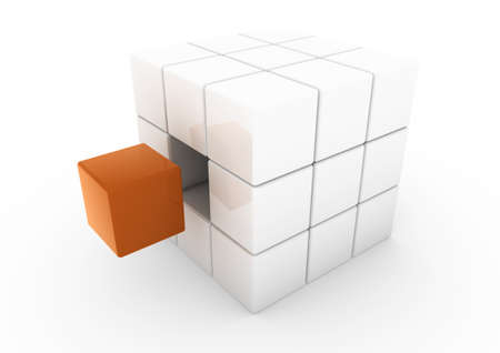 focus on shadow: 3d business cube orange isolated white background