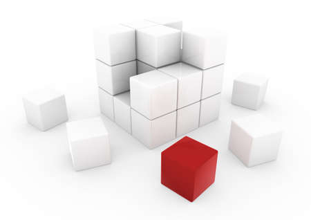 white cube: 3d business cube red isolated white background