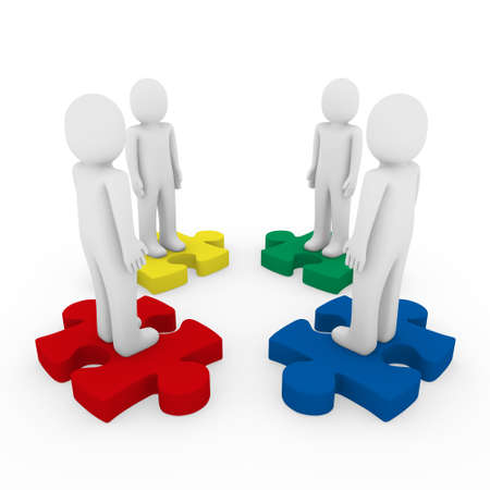 3d men puzzle teamwork red blue green yellow photo
