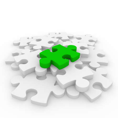 incomplete: 3d puzzle green white success connection piece business