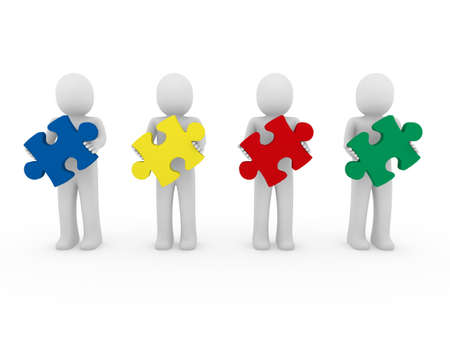 3d men puzzle teamwork red blue green yellow Stock Photo - 9034710