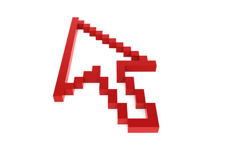 3d pixel arrow red high isolated on white background Stock Photo - 9034702