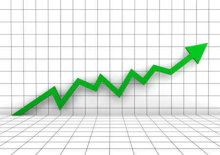 3d graph wall arrow green high isolated white background Stock Photo - 9034749