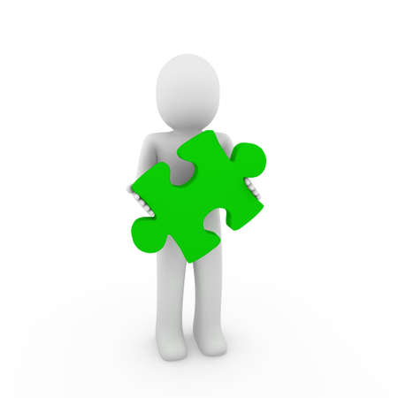 3d human puzzle green business white success background photo