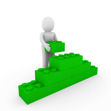 3d human green stone cube wall puzzle business photo