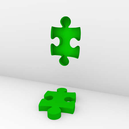 3d puzzle green white success wall piece business photo