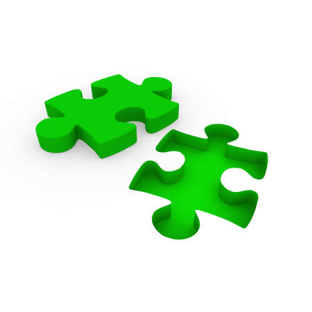 green issue: 3d puzzle green white success connection piece business