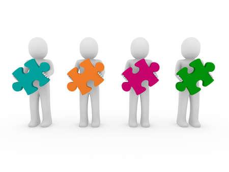 3d men puzzle teamwork green orange pink purple Stock Photo