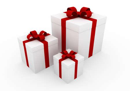 caja navidad: 3D Navidad Regalo cuadro blanco aislado fondo rojo