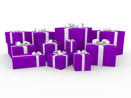 3d purple pink white gift box isolated white background photo