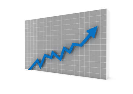 3d graph arrow blue high isolated white background photo
