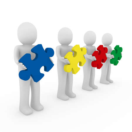 animated women: 3d men puzzle teamwork red blue green yellow