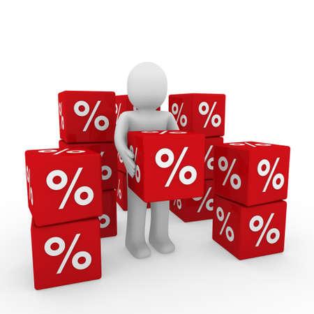 3d human red sale cube success percent business photo