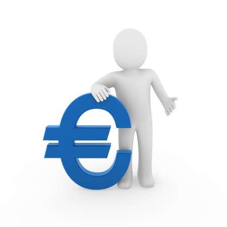3d human euro finance blue success symbol business  Stock Photo - 9133654