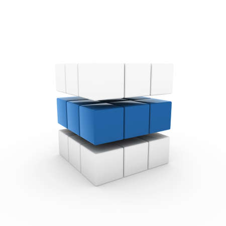 3d business cube blue isolated white success teamwork photo