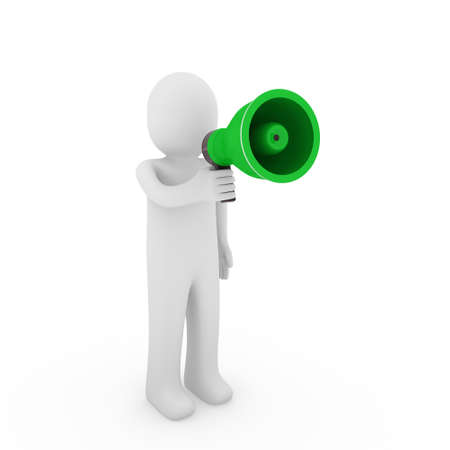 3d human megaphone white green loud voice talk Stock Photo - 9201685
