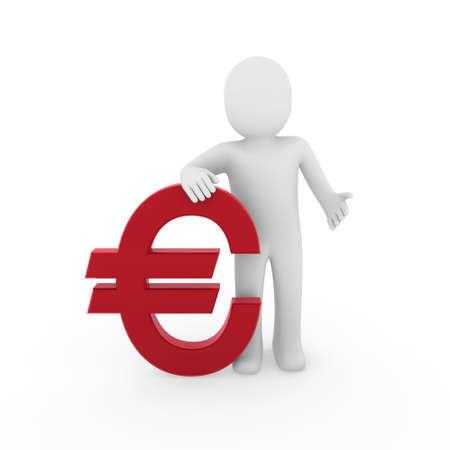 3d human: euro humano 3D financiar negocios de s�mbolo de �xito rojo  Foto de archivo