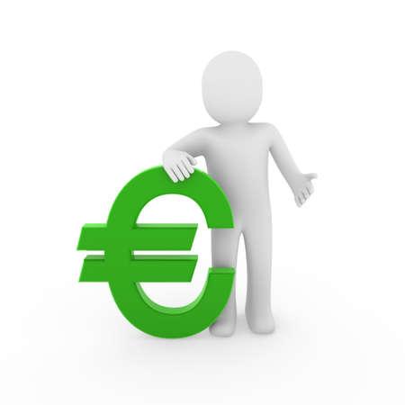 3d human euro finance green success symbol business Stock Photo - 9288650