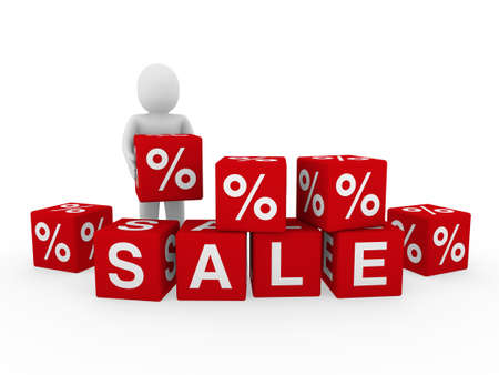 3d sale human red cube sell business discount photo