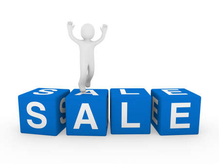 3d human sale cube blue jump forward business photo