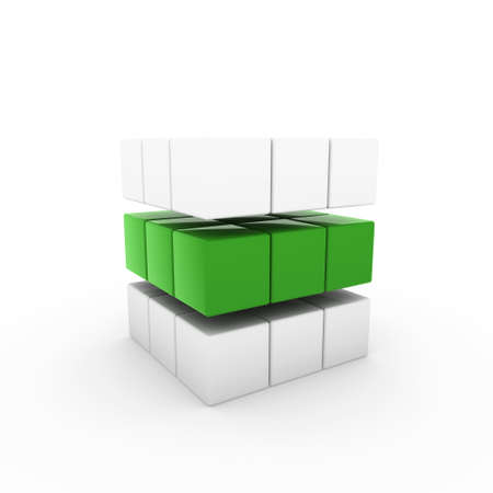focus on shadow: 3d business cube green isolated white success teamwork