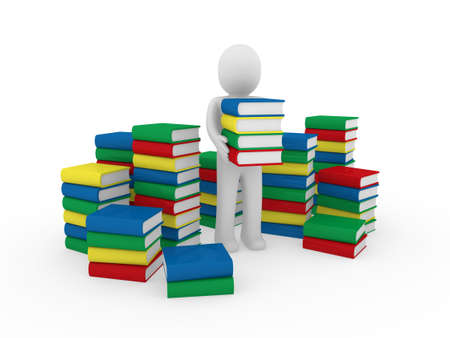 3d human book paper learn read red blue Stock Photo - 9320276