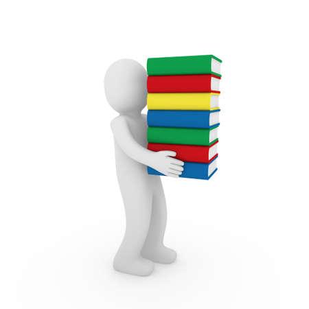 3d human book bear learn read red blue photo