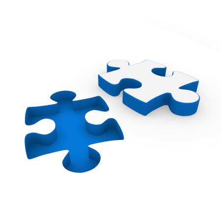 assemble: 3d puzzle blue white success connection piece business