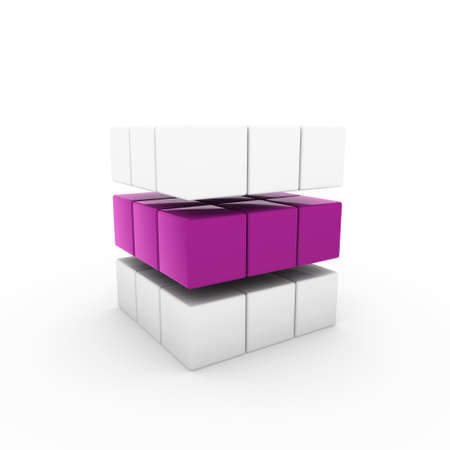 specular: 3d business cube purple isolated white success teamwork Stock Photo