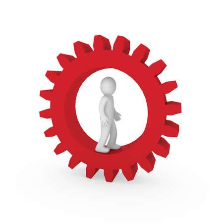 3d gear red human man business teamwork technology Stock Photo - 9352750
