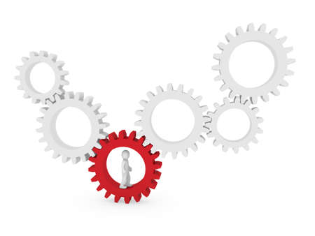3d gear human man red teamwork circle business Stock Photo - 9352742